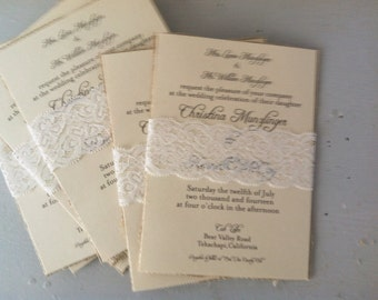 Rustic Kraft Wedding Invitations with lace belly band and natural burlap-150 Count