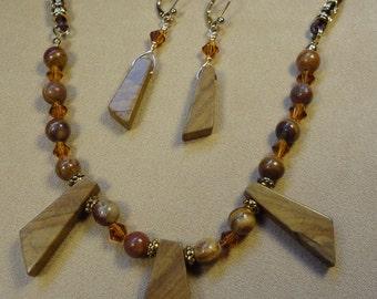 Wood jasper stone necklace & earrings