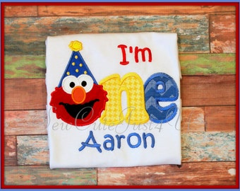 I'm One or Two Elmo Themed Personalized Birthday Number Shirt