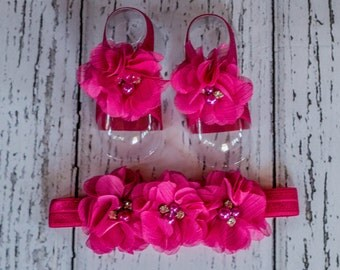 HOT PINK  Barefoot sandals and headband set, headband and barefoot sandals for infants and toddlers.