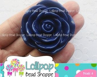 NAVY BLUE Jumbo ROSE Beads 45mm Chunky Necklace Beads Resin Flower Beads Dark Blue Large Rose Beads Plastic Bubble Gum Beads Bubblegum Beads