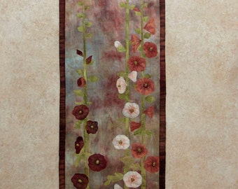 Hand painted fabric art quilt, wallhanging- Hollyhocks 2