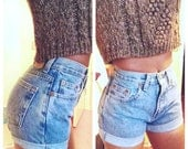 SALE- Original Blue High Waisted Shorts levis wrangler, gap, guess - modayarte