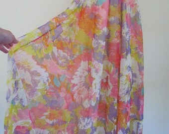 Beautiful Vintage Watercolor Painterly Floral Motif Pattern Pinks Purple Yellow White etc. Maxi Skirt w Matching Belt Size S/M