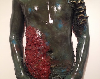 Original sculpture, body cast, clay sculpture, coral, algae, texture, underwater figure, torso, underwater colors, droplets, sculpture body