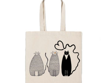 Tote Bag- Screenprinted Cotton Canvas Grocery Tote Cats Funny Heart Tail Market Bag