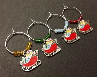 Christmas Sleigh Wine Charms (4), Christmas Wine Charms,  Holiday Sleigh, Glass Beads