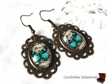 Butterfly -  blue vintage earrings