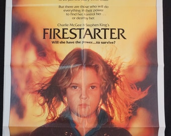 "Firestarter    Movie Poster  ""FIRESTARTER""  Original 1984 Movie Poster  -  Drew Barrymore"