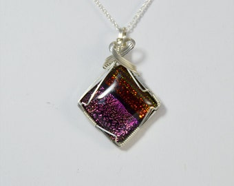 Pink and Orange Dichroic Glass Wire Wrapped Pendant in Sterling Silver