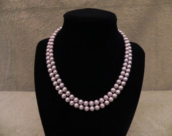 Vintage Silver Textured Bead Necklace Jewelry