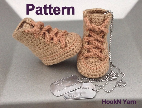 Baby Military booties baby work boots crochet by HookNYarnCrochet