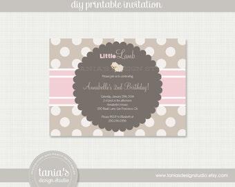 Little Lamb Printable Birthday Invitation by tania's design studio