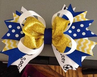 """5"""" Soccer Hair Bow (get custom team colors)"""