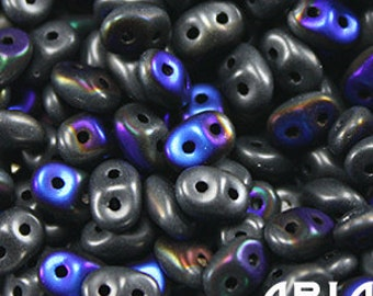 JET AZURO MATTE: SuperDuo Two-Hole Czech Glass Seed Beads, 2.5x5mm (10 grams)