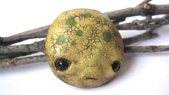 Limited Edition - Hand painted seed monster face brooch - lemon yellow