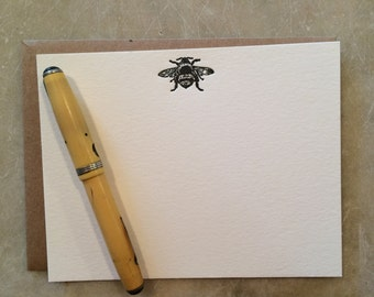 Letterpress Flat Card with Bumble Bee- set of 6