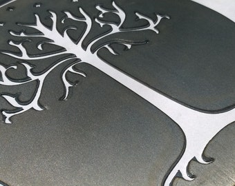 Lord of the Rings Inspired White Tree of Gondor Metal Sign