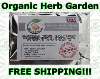 Organic Herb Kit-5 Herbs-Easy to Grow! Free shipping- MySeedcellar.com-Basil, Oregano, Cilantro, Dill, and Parsley