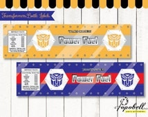 Transformers Bottle Labels for Transformers Birthday Party. Instant Download Transformers Water Bottle Wrappers Printable. Non-Personalized.