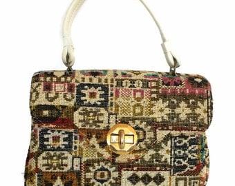 Tapestry Handbag Signed Alma Ide Carpetbag Purse