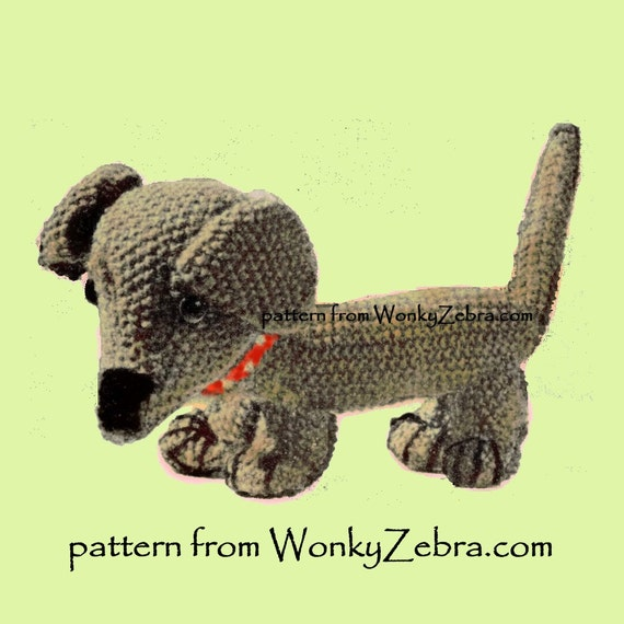 Knitting Patterns For Sausage Dogs : A knitted toy dachshund dog Vintage Knit Pattern PDF 520 from