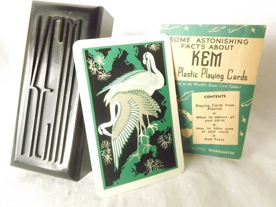 Vintage KEM Plastic Playing Cards Black Bakelite Case Two Decks Directions 1930s 1940s Jokers Replacement Cards Red Flamingo Green Flamingo