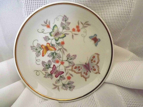 Vintage Avon Mini Plate Butterfly Plate Fine Porcelain Plate Collectible Plate Collectible Avon Miniature Plate Lavender Blue Green Orange