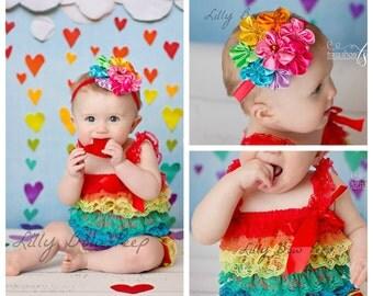 SET-Baby Girl Outfit-Rainbow Lace Petti Romper & Headband-Preemie-Newborn-Infant-Child-Toddler-Birthday Cake Smash-Clothing-Vintage Dress up