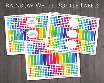 INSTANT DOWNLOAD - Printable Rainbow Water Bottle Labels - Blank and Happy Birthday Water Bottle Labels