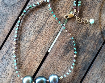 Triple Tahitian  pearl , Peruvian opal and pyrite braided necklace