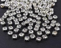 Lot 100 Pcs 6 mm or ss28 Loose Crystal Clear Sew on Rhinestone Beads, good for Sash Applique, hair clip, DIY wedding, DIY hair clip - R42800