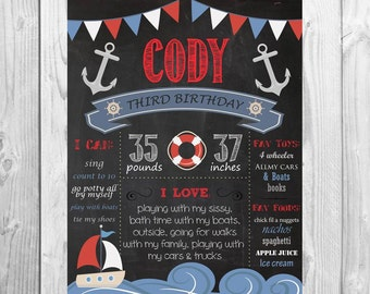 CUSTOM Nautical Boat Chalkboard Birthday Chalkboard digital file prop Boy Birthday - Monthly/ First year, birthday smash chalkboard