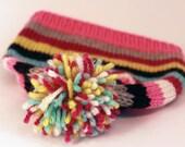 AUDREY: Handknit baby hat, toddler/small child size, stripes, pom-pom