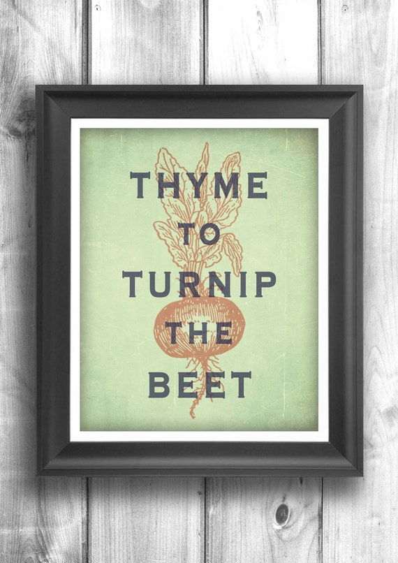 Typographic print art for kitchen wall decor by for Art prints for kitchen wall