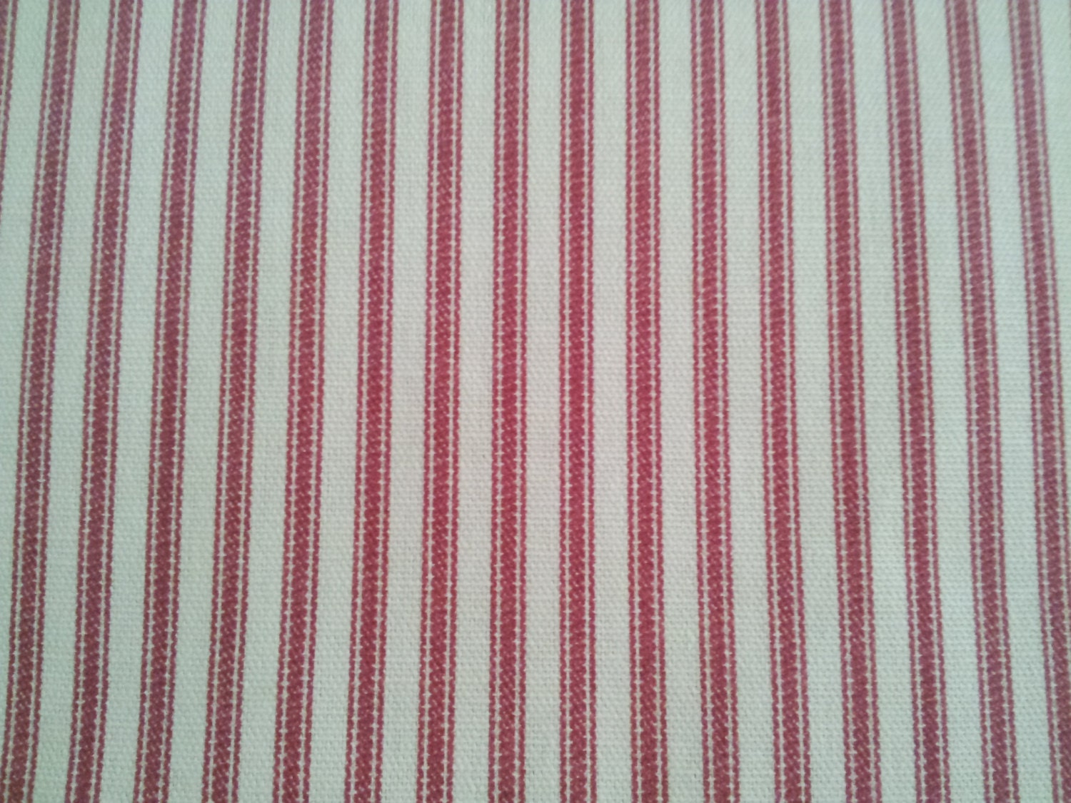 Red and white ticking fabric great for by thevirtualmercantile for Ticking fabric