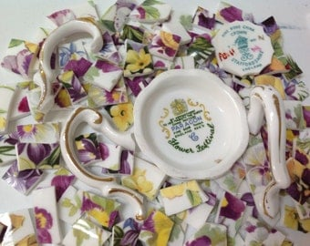China mosaic Teacup Tiles~~Shades of Lavender and Sunshine ~~Set # 4