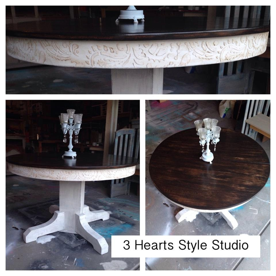 Rustic glam kitchen table round table by 3heartsstylestudio for Rustic round kitchen table