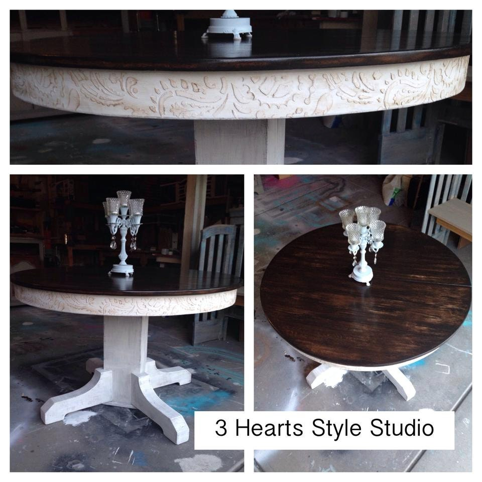 Rustic glam kitchen table round table by 3heartsstylestudio Rustic round kitchen table