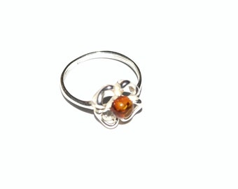 sterling silver ring with natural Baltic amber