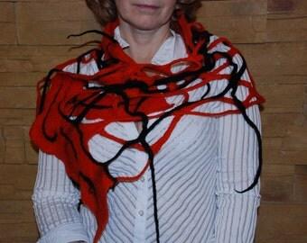 Cobweb Felted Red Black Stripes Scarf Women Girl Scarf Hippie scarf teenager scarf