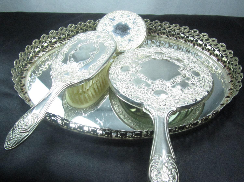 Vintage vanity set silver mirror tray Vintage hand mirror