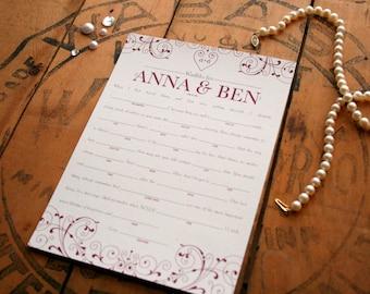 Wedding Mad Libs - Shower Libs - Funny Wedding Guest Book Alternative - Printable Wedding Reception Game - Anna