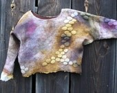 """Nunofelted  short  blouse   in autumn colors decorated with """" stones""""....made to order"""