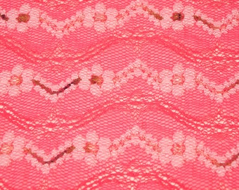229c80312aed1a Pink Flower Daze Lace Fabric by the Yard Stretch Chevron Lace Fabric by the  yard Dresses Wedding Bridal - 1 Yard Style 6041