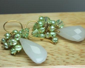 White Jade Earrings, Pearl Cluster Earrings, Large Teardrop Gemstones, Green Freshwater Pearls, Long Dangle Earrings
