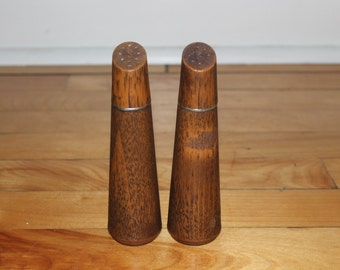 Vintage 1970s Faux Wooden Plastic Tall Salt and Pepper Shakers Set Mod Retro
