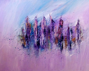 Original Contemporary Art by Susan Marie Doyle, original, blue, purple, yellow, pink, abstract, yellow
