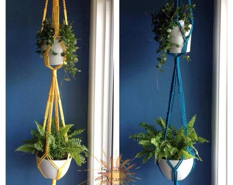 Double Macramé Plant Hangers available in assorted colours