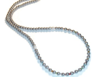 Silver Stunner Long Silver Pearl Necklace